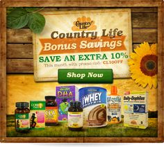 Are you a fan of Country Life? Their vitamins & supplements are certified gluten-free, and come in a wide range of products like Prenatal Vitamins, Protein Powders, Fat Metabolizers, Liquid Vitamins, Minerals, Multiples and more.  Save An Extra 10% Off Country Life Products Today With Promo Code 'CL10OFF'!