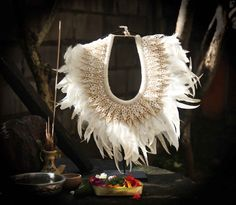 Papua Tribal crochetshells and feathers Necklace by etnikabali