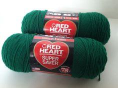 Detash Green Acrylic Yarn 2 Skeins by IdleHandsYarnSupply on Etsy, $3.95
