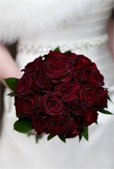 dark red rose wedding bouquet