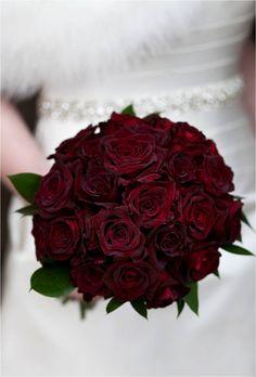 dark red rose wedding bouquet