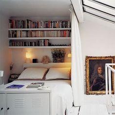 Above bed storage mezzanine Armoire Ikea Ps, Ikea Ps Cabinet, Bed Nook, Bedroom Nook, Cozy Nook, Comfy Bedroom, Cosy Corner, Upstairs Bedroom, Bedroom Storage
