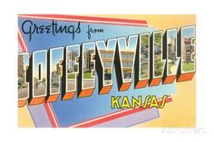 Greetings from Coffeyville, Kansas reproduction procédé giclée