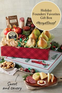 Not Sure What Holiday Gift To Send Someone? This Founders Favorite Gift Box Is Filled With Our Favorite, Well-Known Products There's Something For Everyone To Enjoy, From Delicious Milk Chocolate Moose Munch Popcorn, And Our Famous Royal Riviera Pears, To Food Baskets For Christmas, Food Gift Baskets, Holiday Gift Baskets, Christmas Food Gifts, Holiday Gifts, Moose Munch, Chocolate Moose, Onion Relish, Oil Water