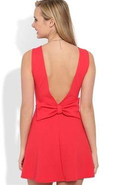Deb Shops #Coral #Skater #Dress with Deep V Bow Back $29.90