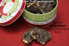"Salted Hazelnut Dark Chocolate Bark - I love The Paleo Mom! She always has such wonderful ""safe"" recipes for me to try Chocolate Bark, Chocolate Hazelnut, Baking Chocolate, Paleo Dessert, Dessert Recipes, Paleo Recipes, Free Recipes, Desserts, Atkins"