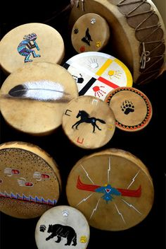 Native American Hand-painted and Powwow drums.