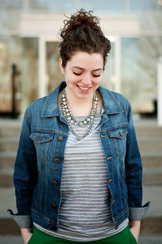 grey and white striped shirt, denim jacket, glitzy necklace - check, check, check!