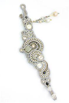 silver : Gothika embroidered bracelet, Dori Csengeri Soutache Bracelet, Soutache Jewelry, Boho Jewelry, Jewelry Art, Beaded Jewelry, Jewelery, Handmade Jewelry, Beaded Necklace, Jewelry Design