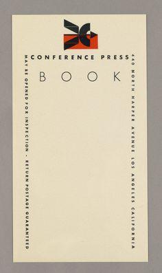 Alvin Lustig, The Conference Press.