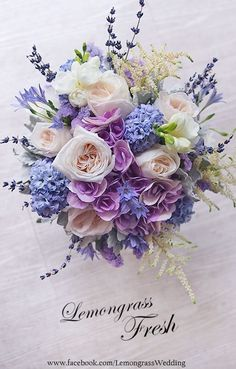 Brides bouquet, with hydrangeas, oxford blue, dwarf iris, and verbena as well as a rose gold wrap around the bouquet. Purple Wedding, Floral Wedding, Wedding Colors, Dream Wedding, Bridal Flowers, Silk Flowers, Beautiful Flowers, Bride Bouquets, Floral Bouquets