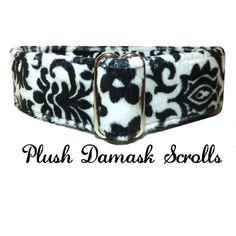 Plush Damask Black and White Scrolls by LuigisFineDogCollars