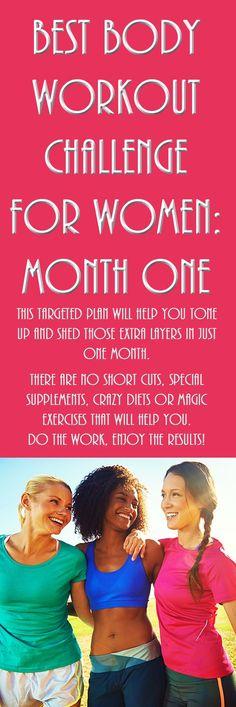 BEST BODY WORKOUT CHALLENGE FOR WOMEN: MONTH ONE! #workoutforwomen #fitnesschallenge #toneup #weightloss #loseweight