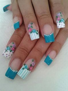Uñas Teal Nail Designs, Long Nail Designs, Creative Nail Designs, Creative Nails, Queen Nails, Glamour Nails, Super Cute Nails, Rose Nails, Bright Nails