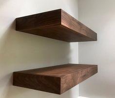 Floating shelves Walnut Maple or Mahogany Floating Walnut Floating Shelves, Walnut Shelves, Bookcase Wall, Wood Wall Shelf, Bookshelf Design, Bookcases, Speaker Shelves, Medicine Cabinet Shelves, Cabinets