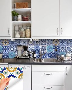 Set of 24 Tiles Decals Tiles Stickers mixed Tiles for walls Kitchen Bathroom fliesenaufkleber Tile Decals, Wall Tiles, Wall Decal, Wall Murals, Kitchen Tiles, Kitchen Cabinets, Traditional Tile, Farmhouse Side Table, Stick On Tiles
