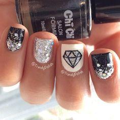Black and White | Diamond | Nail Art