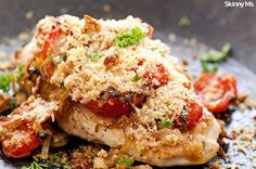 One-Skillet Chicken Parmesan--cutting calories compared to this classic, this one weighs in at only 357 calories per serving.