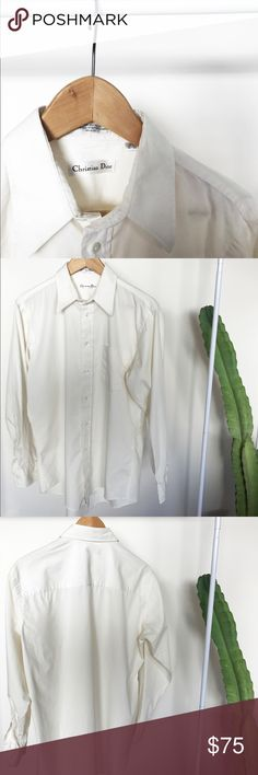 Christian Dior Button up. Vintage Christian Dior button up. Size 15 1/2 34-35. Very small town that simply needs a dry cleaning. At bottom back of shirt. Super vintage and amazing fit. Christian Dior Shirts Dress Shirts