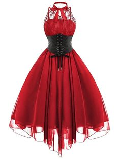 2019 Gothic Bow Party Dress Women Vintage Black Sleeveless Cross Back Lace Panel Corset Swing Dress Robe Vestidos Femme, Red / XL Gothic Corset Dresses, Goth Dress, Lolita Dress, Red Corset Dress, Lace Corset, Lace Dress, Gothic Outfits, Emo Outfits, Vestidos Vintage