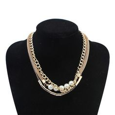 New Spring Fashion Luxury CC Necklace for Women Collares Mujer Perlas Layered Gold Chunky Chain Necklace Pearl Jewelry Zora 2015