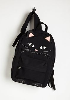 Quirky Sass Participation Backpack by ModCloth Cat Backpack, Rucksack Bag, Black Backpack, Canvas Backpack, Notebook Bag, Cat Bag, Accesorios Casual, Cat Accessories, Embroidered Bag