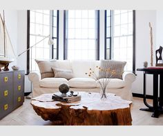 The Brooklyn Home Company / Emily Gilbert {eclectic white rustic modern living room} That coffee table! Rustic Table, Wood Table, Trunk Table, Stump Table, Rustic Wood, Wood Trunk, Living Spaces, Living Room, Living Area
