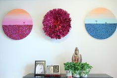 round paintings (Shirin Sahba), feathered headdress