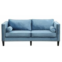 Cooper Blue Velvet Sofa - This one of a kind sofa features a modern design with studded detail for a modern take on classic comfort.
