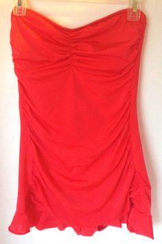 4e37a9c325 Allen B by Allen Schwartz Size 10 Orange Ruched Swimsuit Dress Strapless  Ruffle #AllenBbyAllenSchwartz #