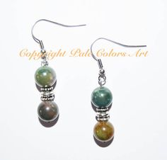 Unakite 10mm Semiprecious Stone Earrings,Stainless Steel Hypoallergenic Non-Tarnish  Ear Wires, Green Stone Unakite and Silver Earrings