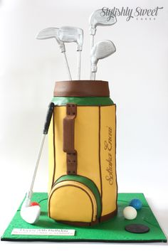 GOLF BAG CAKE by STYLISHLY SWEET - SYDNEY CUSTOM CAKES www.stylishlysweet.com.au