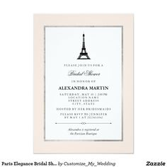 Paris Elegance Bridal Shower 5x7 Paper Invitation Card