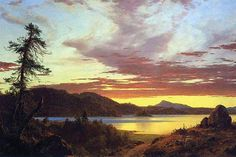 Red Sky sunset over the River. Frederic Edwin Church (May 4, 1826 – April 7…