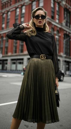 YOUR HOLIDAY SEASON MVP // Sheer black mock neck long-sleeve blouse with Swiss-dot detailing, pleated metallic midi skirt, black leather waist belt, black leather structured mini hand bag, cat eye sunglasses and black strappy Mary Jane pumps {Hobbs London, Aqua, Gucci, M2Malletier, Jimmy Choo, holiday style, festive dressing, Christmas 2017, what to wear during the holidays, street style, sparkle, metallics, midi skirt, winter style, wear to work, office style, fashion blogger}
