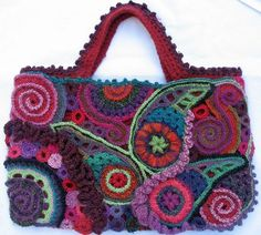 Crochet freeform - Page 5 - Easy Crochet Freeform Crochet, Irish Crochet, Crochet Yarn, Free Crochet, Crochet Handbags, Crochet Purses, Crochet Simple, Crochet World, Knitted Bags