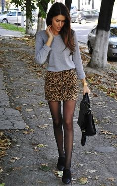 leopard mini skirt grey top love it!!!