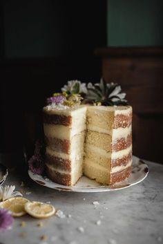 sliced lemon layer cake view
