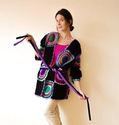 Plus Size Multicolor Crocheted Cardigan, Black and Purple