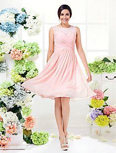 A-line Jewel Knee-length Georgette Bridesmaid Dress (1466939... – BRL R$ 209,95