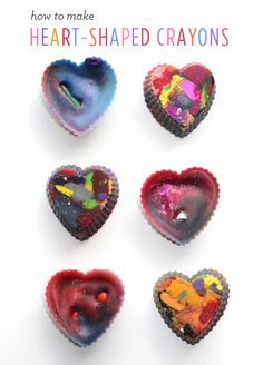 how to make heart-shaped crayons  Valentine's Day DIY with kids
