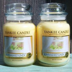 Yankee Candle Sunwashed Linen 22 oz Large Jar Fresh Scent Clean Qty 2