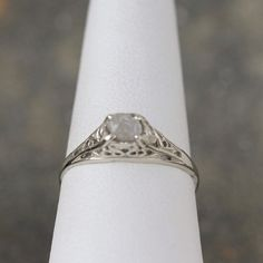 Raw Diamond 14K White Gold Engagement Ring Antique by ASecondTime
