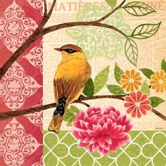 Summer Songbirds Sq1 by Jennifer Brinley | Ruth Levison Design