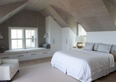 Fabulous Modern Bedroom Interior Ideas - Page 20 of 49 Attic Master Bedroom, Attic Bedroom Designs, Attic Bedrooms, Upstairs Bedroom, Bedroom Loft, Modern Bedroom, Bedroom Rustic, Attic Bedroom Storage, Contemporary Bedroom