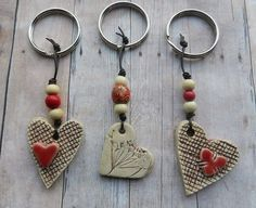 Ceramic Heart Keychain, clay heart pottery heart keychain gift tag ceramic heart…