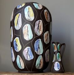 XL-2xVintage-60s-BAY-Keramik-KONGO-Vases-Set-BODO-MANS-German-Pottery-Fat-Lava Bodo, Lava, Vases, Germany, Pottery, Ceramics, Ebay, Ceramica, Ceramica
