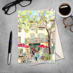 French Cafe - French Village - Provence -  France - Cafe Scene - Blank Card by JennyDunlopArt on Etsy
