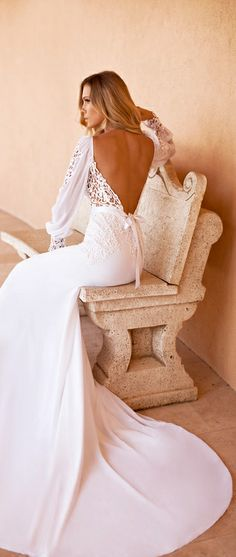 Julie Vino - open back long billowy sleeve with lace cuff