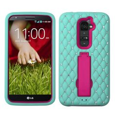 RUGGED SYMBIOSIS W/ DIAMONDS STAND CASE FOR LG G2 - MINT BLUE/HOT PINK